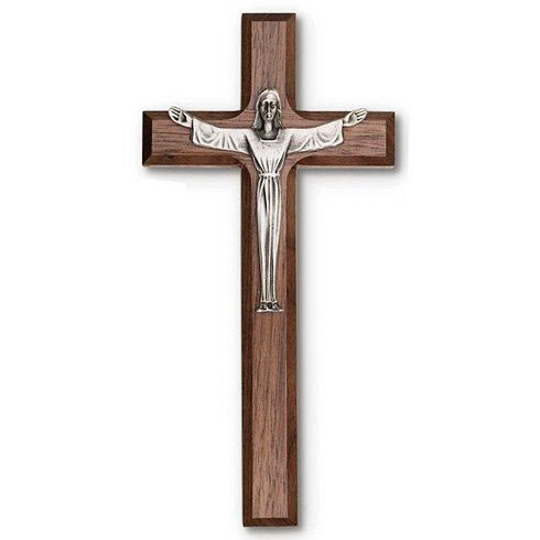 8in Walnut Wood Risen Christ Wall Cross (Christ Wood Cross)