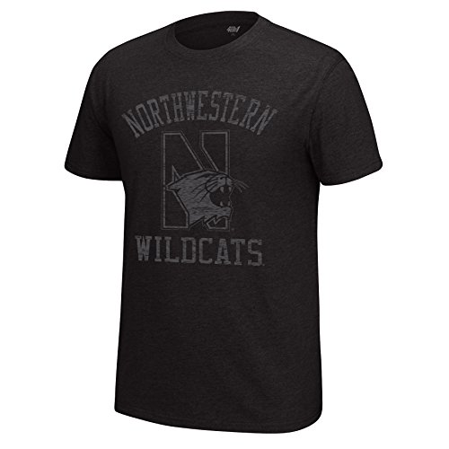 J America NCAA Northwestern Wildcats Men's Major Mascot Staple Tee, Medium, Black Heather
