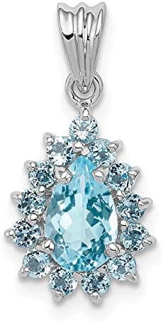 Sterling Silver Rhodium-plated Light Swiss Blue Topaz Pear-shaped Pendant