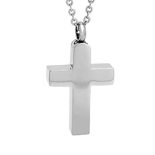 Amazon Com Heartfelt Simple Stainless Steel Cross Cremation