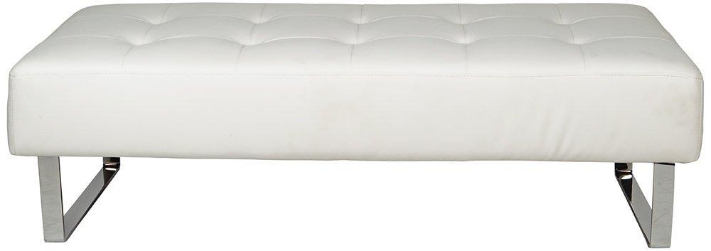 Whiteline Modern Living BN1085P-WHT Miami Faux Leather Bench with Chrome Frame, White