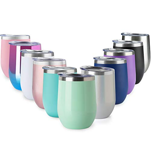 (MUCHENG 12oz Insulated Cooling Cups,Wine Tumbler with Lid, Stemless Stainless Steel Insulated Wine Glass Double Wall Durable Coffee Mug, for Champaign, Cocktail, Beer, Office use)