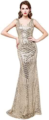 bcfe9eb38284 Kelaixiang Sequins Evening Gown Long Mermaid Prom Bridesmaid Dress V Neck