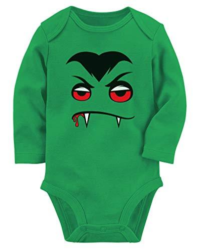 Tstars - Halloween Easy Costume Vampire Face Baby Long Sleeve Bodysuit 18M (12-18M) Green ()