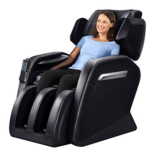 (Massage Chair Zero Gravity Full Body Shiatsu Luxurious Electric Massage Chair Recliner with Stretched mode Heating back and Foot Rollers Massage Therapy (Black))