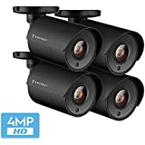 4-Pack Amcrest UltraHD 4-Megapixel Bullet Outdoor Security Camera, 4MP 2688x1440P, Plastic Housing, 2.8mm Lens 100° Wide Angle, Black (4PACK-AMC4MBC28P-B)