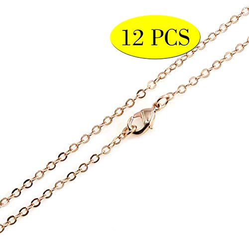 Wholesale 12PCS Rose Gold Plated Solid Brass Flat Cable Chains Bulk Fine Chain for Jewelry Making 18-30 Inches (18