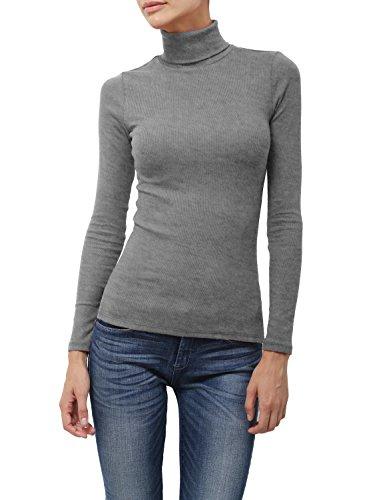 NE PEOPLE Womens Light Weight Basic Long Sleeve Turtle Neck Ribbed Shirt