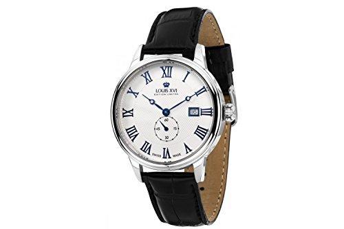 Louis Quartz Watch - Louis XVI Men's-Watch Louis Charles l'argent Blanc eloxé bleu Swiss Made Analog Quartz Leather Black 461