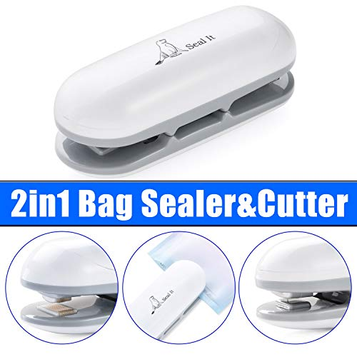 Seal it! Mini Bag Sealer and Cutter by ECS Products | Portable Heat Vacuum Sealer, Vacuum Tight Food/Snack Storage Resealer, Portable Food Bag Sealer, Handheld Heat Sealing Machine. Stop Living A Stale Life! (Batteries Not Included)