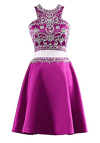 Short Fuschia Beaded Party Pieces Dresses Prom Sequined Homecoming Gowns Yinyyinhs s Women Two Fn7EEq