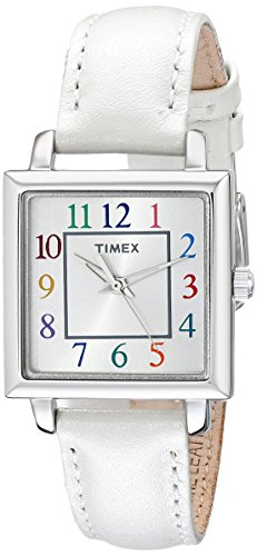 (Timex Women's T2P377 Elevated Classics Silver-Tone Watch with White Leather Band)