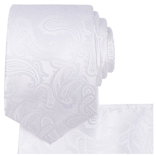 KissTies White Tie Set Paisley Necktie + Pocket Square + Gift Box - Paisley Satin Tie