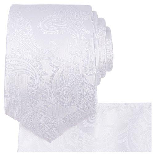 - KissTies White Tie Set Paisley Necktie + Pocket Square + Gift Box