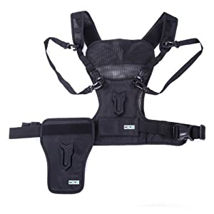 Movo Photo MB1000 Multi Camera Carrier Harness Vest with Mounting Hubs, Side Holster and Backup Safety Straps