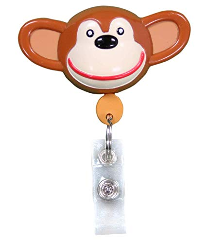 (Best ID Badge (Chimp) Retractable with Clip and Reel-Plastic Custom Animal Shape with Key Ring and Plastic Clip for Men, Women, Doctors, Nurses, Kids Clip to Belt, Pants, Keychain, Pocket)