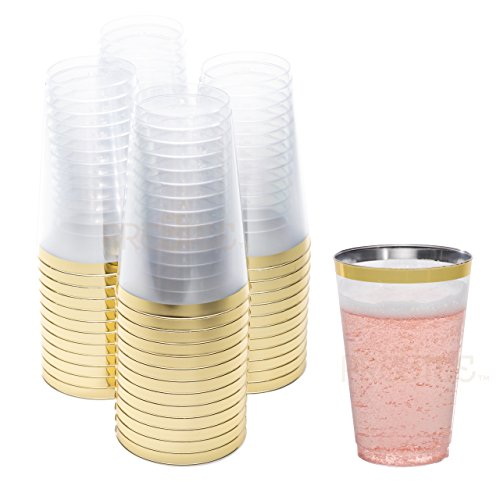 DRINKET Gold Plastic Cups 14 oz Clear Plastic Cups / Tumblers Fancy Plastic Wedding Cups With Gold Rim 50 Ct Disposable For Party Holiday and Occasions SUPER VALUE (Wedding Plastic Cups)