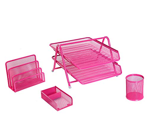 Exerz Premium Desk Organizers Mesh Office Set Accessories 4 PCS - 2 Tier Sliding Letter Tray/Filing/Paper Tray, Letter Rack, Pen Pot, Clips & Memo Pad Holder (EX2480 -