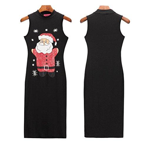 Dalle Signore Natale Del Abito Nero Claus Partito Un Babbo Vestiti Sexy Kanpola Maniche Del Stampati Senza Donne Sottile Costume Iq7xwBgP