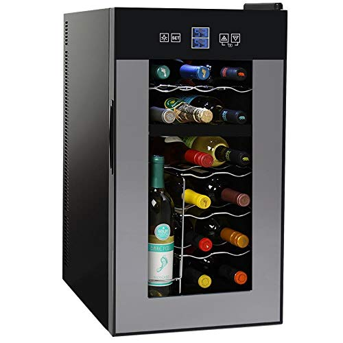 NutriChef PKTEWCDS1802 18 Bottle Dual Zone Thermoelectric Wine Cooler  Red and White Wine Chiller  Countertop Wine Cellar  Freestanding Refrigerator with LCD Display Digital Touch Controls (Renewed)