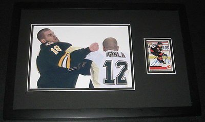 - Jarome Iginla FIGHT Signed Framed 11x17 Photo Display JSA Penguins