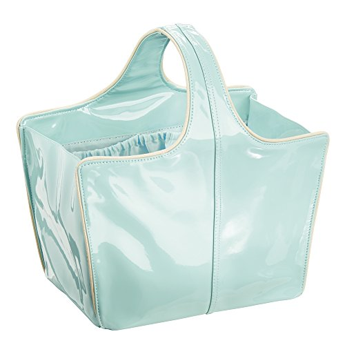 Remy  Patent  Tote for Bathroom Shower, College Dorm, Beach - Medium, Mint/Gold ()