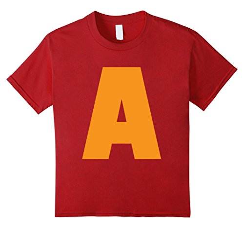 Letter A Costumes (Kids Cool Letter A for Alvin Costume T-shirt 12 Cranberry)