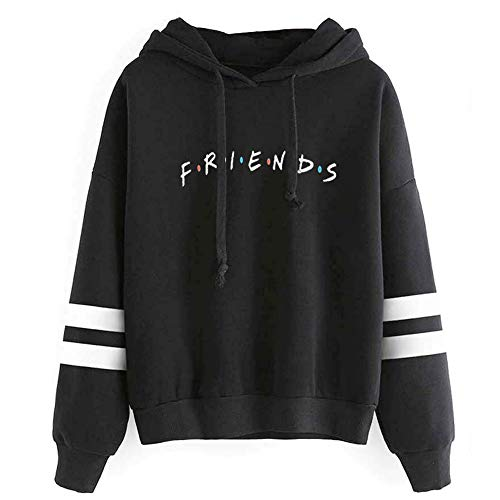 Unisex Fashion Friend Hoodie Sweatshirt Friend TV Show Merchandise Women Men Tops Hoodies Sweater Funny Hooded Pullover (M, Friend Hoodie Black)