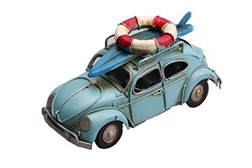 ブリキのおもちゃ 車 アンティーク仕上げのレトロなワーゲンバンタイプ 青 (浮き輪とサーフボード) bc004-2