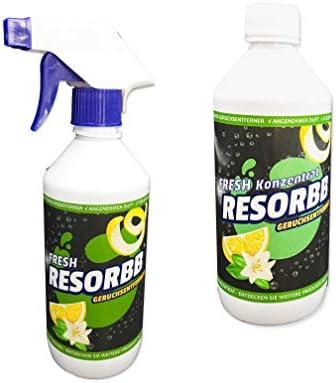 RESORBB® FRESH Anti-Rauch 40-fach Konzentrat 0,5l. + leere Sprühflasche Dieser wasserlösliche Geruchsneutralisierer eignet sich für glatte Oberflächen und kann auch als Raumspray verwendet werden