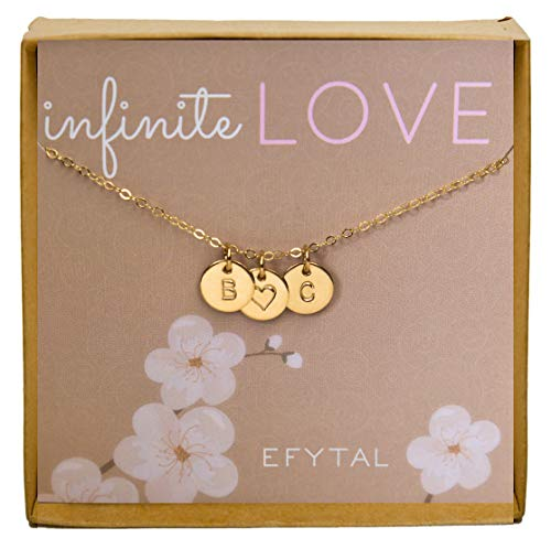EFYTAL Valentines Day Gift For Girlfriend/Wife, Cute and Romantic Gold Filled Initial and Heart Necklace For Her ()