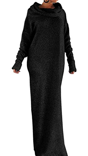 Conffetti Women's Loose Fit Shift Dress Long Sleeve Cowl-Neck Casual Pure Color Maxi Dresses Black M (Cowl Shift Dress Neck)
