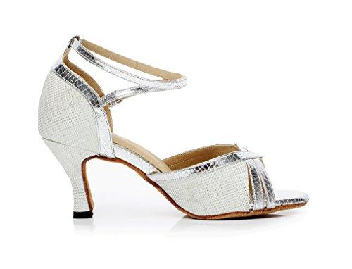 de zapatos baile Latina Glitter Peep Toe Mujer Plateado Minitoo wXUqYRn