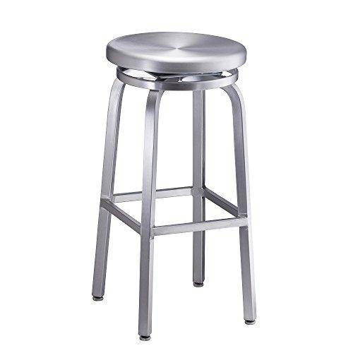 - Aluminum Swivel Bar Stool, SWIVEL, BRUSHED ALUMINM set of 2