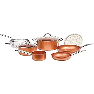 Copper Chef Cookware 9-Pc. Round Pan Set, Aluminum and Steel with Ceramic Non-Stick Coating Cookware Set, Includes Lids…