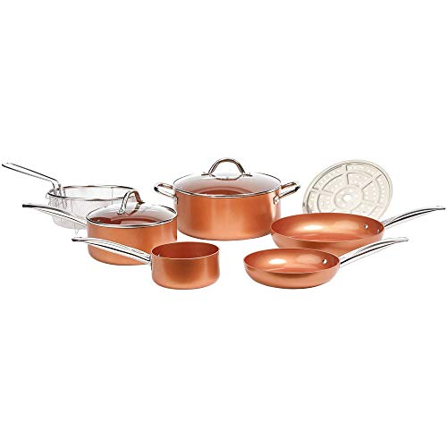 Copper Chef Cookware 9-Pc. Round Pan Set -Aluminum & Steel With Ceramic Non Stick Coating. Includes Lids, Frying and Roasting Pans Accessories