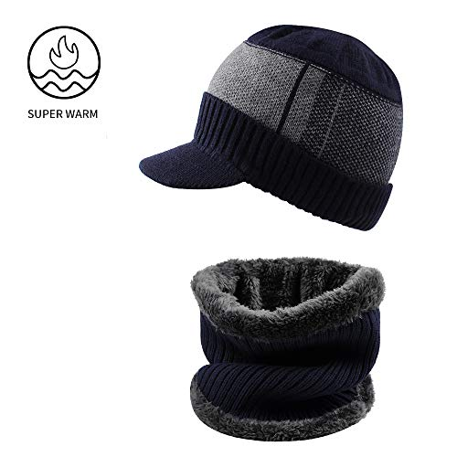 (XIAOHAWANG 2-Pieces Winter Hat Scarf Set Knit Cable Visor Beanie Warm Scarves Fleece Lining Patchwork Stripe Newsboy Cap with Brim for Outdoor Sport(Navy))
