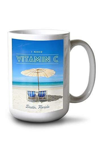 Lantern Press Destin, Florida - I Need Vitamin C - Beach Chairs and Umbrella (15oz White Ceramic Mug)
