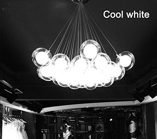 FidgetGear Modern Glass Ball Bubble LED Pendant Lamp Chandelier Ceiling Lights with G4 Bulb Cool White 15 Heads