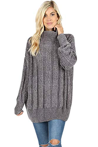 Sweaters for Women Turtle Cowl Neck Vertical Stripe Velvet Yarn Long Sleeve Sweater-Ash Grey (Large)