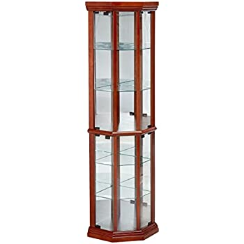 Amazon.com: Coaster Solid Wood Glass Corner China Curio Cabinet ...
