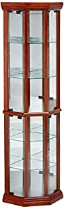 Coaster Traditional Medium Brown Curio Cabinet with 6 Shelves