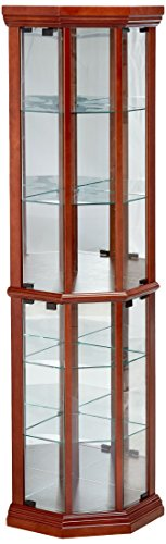 Curio China Cabinet Display (Glass Corner Curio Cabinet with 6-Shelf Medium Brown)