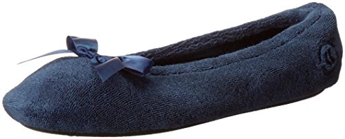 (Isotoner Women's Terry Ballerina Slipper with Bow for Indoor/Outdoor Comfort, Navy, Large / 8-9 Regular US)