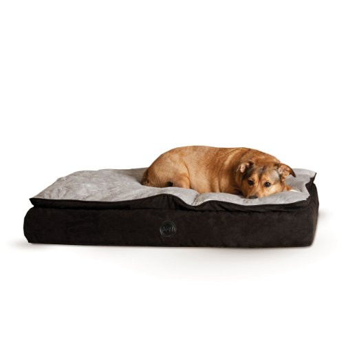 K&H Pet Products Feather-Top Ortho Pet Bed Medium Charcoal/Gray 30