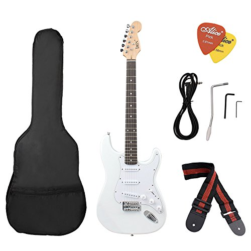 ammoon ST Electric Guitar Basswood Body Rosewood Fingerboard with Gig Bag Picks Strap by ammoon
