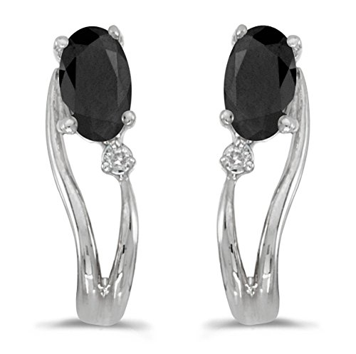 14k White Gold Oval Onyx And Diamond Wave Earrings (0.30 cttw.)