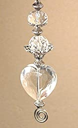 All Glass Rear View Mirror Car Ornament Charm: Light-Catching Crystal Clear Heart & Silvery Accents