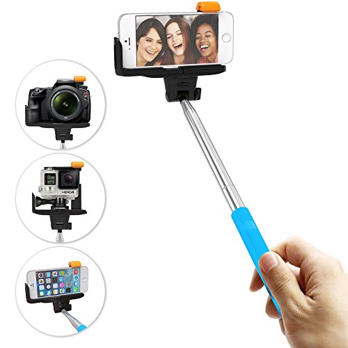 Selfie Stick Stainless Steel Monopod - Built in Rechargeable Bluetooth Shutter Button Control Phone Holder - Wireless Extendable Self Portrait - Best for GoPro Digital Camera iPhone 4 4s 5 5s 6 6 Plus - Fits iPods Samsung Galaxy S3 S4 S5 S6 Note 2 3...