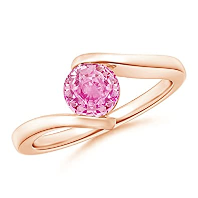 Angara Bar-Set Solitaire Round Pink Sapphire Bypass Ring in 14K Yellow Gold uCazsCc44